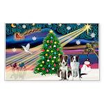 XmasMagic/2 Border Collies Sticker (Rectangle 10 p