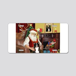 Santa's Border Collie Aluminum License Plate