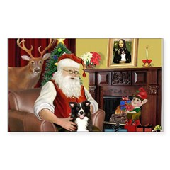 Santa's Border Collie Sticker (Rectangle 50 pk)