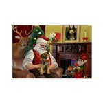 Santa's Border Terrier Rectangle Magnet