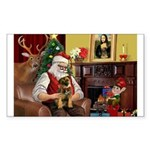 Santa's Border Terrier Sticker (Rectangle)