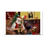 Santa's Border Terrier Rectangle Car Magnet