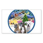 Xmas Magic / 3 Boxers Sticker (Rectangle 10 pk)