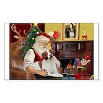 Santa & His Brittany Sticker (Rectangle)