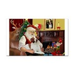 Santa & His Brittany Rectangle Car Magnet