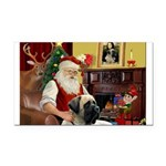 Santa's Bull Mastiff Rectangle Car Magnet