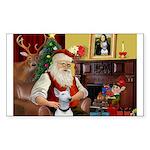Santa's Bull Terrier Sticker (Rectangle)