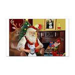 Santa's Bull Terrier Rectangle Car Magnet