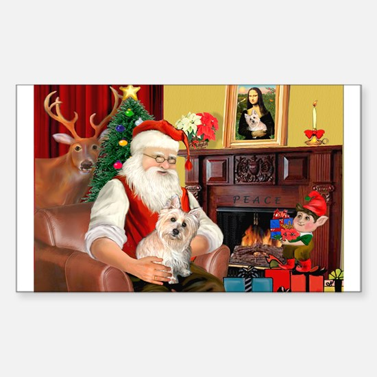 Santa's Cairn Terrier Sticker (Rectangle)