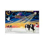 XmasSunrise/2 Cavaliers Rectangle Magnet (10 pack)