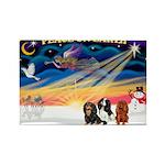 XmasSunrise/3 Cavaliers Rectangle Magnet (10 pack)