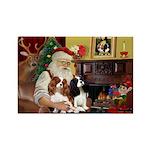 Santa's 2 Cavaliers Rectangle Magnet