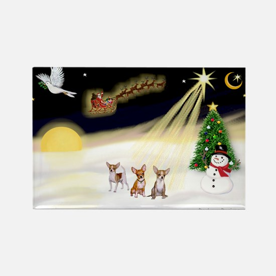 Night Flight/3 Chihuahuas Rectangle Magnet