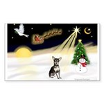 Night Flight/Chihuahua Sticker (Rectangle 50 pk)