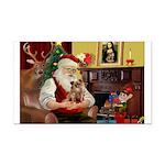 Santa's Chihuahua Rectangle Car Magnet