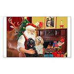 Santa's 2 Cockers Sticker (Rectangle 50 pk)