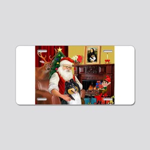 Santa's Collie (t) Aluminum License Plate
