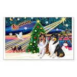 Xmas Magic & Collie Sticker (Rectangle 50 pk)
