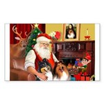 Santa's Collie pair Sticker (Rectangle)