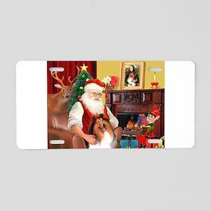 Santa's Collie Aluminum License Plate