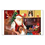 Santa's Collie Sticker (Rectangle 50 pk)