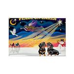 XmasSunrise/2 Dachshunds Rectangle Magnet (10 pack