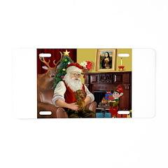 Santa's Dachshund (b) Aluminum License Plate