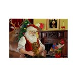 Santa's Dachshund (Br) Rectangle Magnet