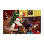 Santa/Two Dachshunds (BB) Sticker (Rectangle)