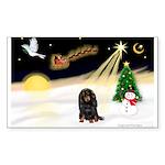 Night Flight/Dachshund Lh Sticker (Rectangle 50 pk