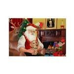 Santa's Dachshund (WH) Rectangle Magnet (10 pack)