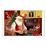 Santa's Dachshund (WH) Sticker (Rectangle 50 pk)