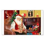 Santa's Dachshund (WH) Sticker (Rectangle 10 pk)