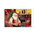 Santa's Dachshund (WH) Rectangle Car Magnet