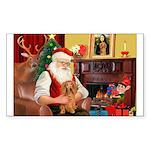 Santa's Dachshund (LH) Sticker (Rectangle 50 pk)