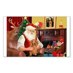 Santa's Dachshund (LH) Sticker (Rectangle 10 pk)