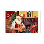 Santa's Dachshund (LH) Rectangle Car Magnet