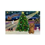 XmasMagic/Dachshund (LH) Rectangle Magnet (10 pack