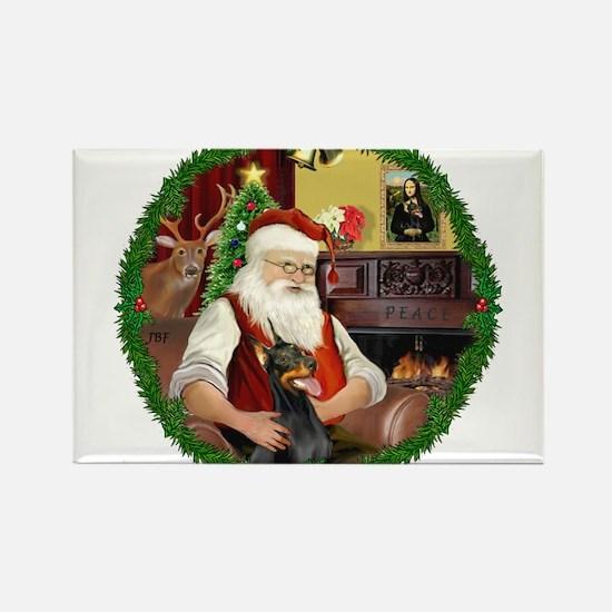 Santa's Doberman Pinscher Rectangle Magnet