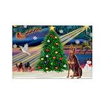 Xmas Magic/Red Dobie Rectangle Magnet (10 pack)