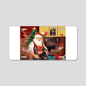 Santa's 2 Dobermans Aluminum License Plate