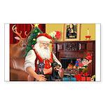 Santa's 2 Dobermans Sticker (Rectangle)