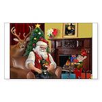 Santa's Dobie (Bz) Sticker (Rectangle)