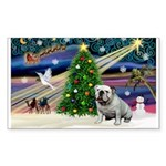 Xmas Magic & Bulldog Sticker (Rectangle 50 pk)