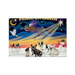 XmasSunrise/4 Fr Bulldogs Rectangle Magnet (10 pac