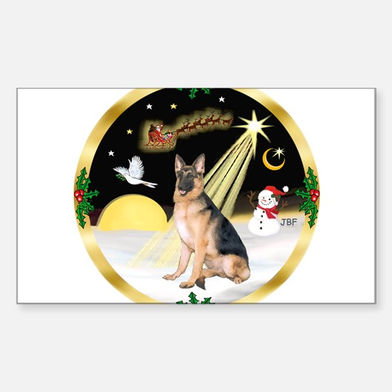 Night Flight/ German Shepherd Sticker (Rectangle)