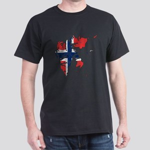 Norway Flag And Map Dark T-Shirt