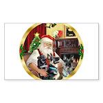 Santa's 2 German Shepherds Sticker (Rectangle)