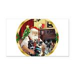 Santa's 2 German Shepherds Rectangle Car Magnet