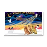 XmasSunrise/3 Goldens Rectangle Car Magnet